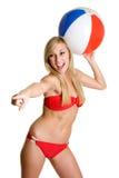 Muchacha de la bola de playa Imagen de archivo
