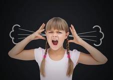 muchacha de la cólera con vapor en los oídos Fondo negro Imagen de archivo