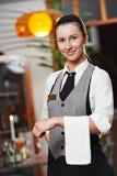 Muchacha de la camarera del anuncio publicitario Imagen de archivo