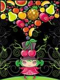 Muchacha de la cereza (series con sabor a fruta) ilustración del vector