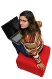 Muchacha de la computadora portátil Fotografía de archivo