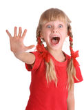 Muchacha de la emoción en grito de la camisa de deporte. fotos de archivo libres de regalías
