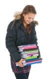 Muchacha de la escuela con los libros Fotografía de archivo