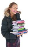 Muchacha de la escuela con los libros Imagenes de archivo