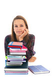 Muchacha de la escuela con los libros Fotos de archivo libres de regalías