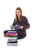 Muchacha de la escuela con los libros Fotos de archivo