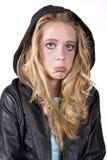 Muchacha de la expresión triste en negro Foto de archivo