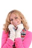 Muchacha de la felicidad en ropa caliente Foto de archivo libre de regalías