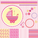 Muchacha de la fiesta de bienvenida al bebé del libro de recuerdos fijada - elementos del diseño Imágenes de archivo libres de regalías