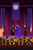 Muchacha de la graduación en el podio ilustración del vector