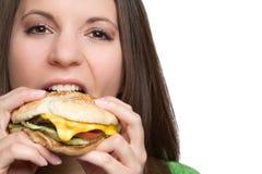 Muchacha de la hamburguesa Imagen de archivo libre de regalías