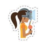 muchacha de la historieta con control de las auriculares del vr Fotografía de archivo libre de regalías