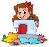 Muchacha de la historieta con la máquina de coser Imagenes de archivo