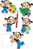 Muchacha de la historieta con los temas de escuela Imagen de archivo