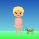 Muchacha de la historieta con un perro stock de ilustración