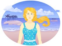 Muchacha de la historieta del vector en la playa del th stock de ilustración