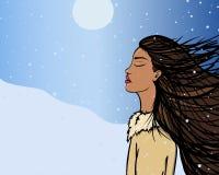 Muchacha de la historieta north nieve viento Fotografía de archivo