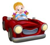 Muchacha de la historieta que conduce el coche Fotografía de archivo