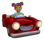 Muchacha de la historieta que conduce el coche Imágenes de archivo libres de regalías