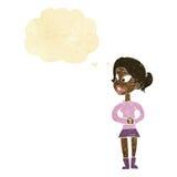 muchacha de la historieta que habla con la burbuja del pensamiento Fotografía de archivo