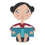 Muchacha de la historieta que lee el libro emocionante libre illustration