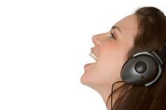 Muchacha de la música de los auriculares Imagen de archivo