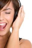 Muchacha de la música de los auriculares Imagenes de archivo