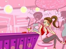 muchacha de la manera aburrida en la ilustración del club de noche Imagen de archivo libre de regalías