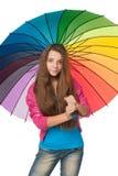 Muchacha de la manera con el paraguas Fotografía de archivo libre de regalías