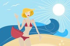 Muchacha de la manera en el vector de la playa libre illustration