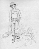 Muchacha de la marimacho - bosquejo Imagen de archivo libre de regalías