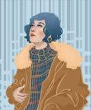 muchacha de la moda bajo la lluvia libre illustration