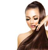 Muchacha de la moda con el pelo largo Imagenes de archivo