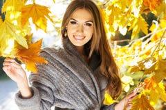 Muchacha de la moda de los jóvenes en parque del otoño Imagen de archivo libre de regalías