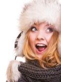 Muchacha de la moda del invierno en el sombrero de piel que hace la diversión aislada Fotos de archivo libres de regalías