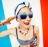 Muchacha de la moda del marinero Estilo de la playa del verano Imagen de archivo libre de regalías