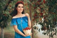 Muchacha de la moda del verano que detiene a Cherry Basket Fotografía de archivo