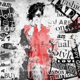 Muchacha de la moda en bosquejo-estilo stock de ilustración
