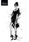 Muchacha de la moda en bosquejo-estilo Cartel retro libre illustration