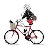 Muchacha de la moda en estilo del bosquejo libre illustration