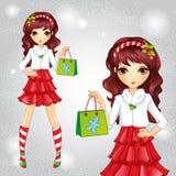 Muchacha de la moda vestida como Santa Claus Holding Bag ilustración del vector
