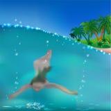 Muchacha de la natación debajo del agua. stock de ilustración