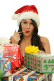 Muchacha de la Navidad con el caramelo Foto de archivo libre de regalías