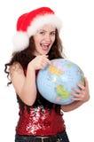 Muchacha de la Navidad con el globo Foto de archivo libre de regalías