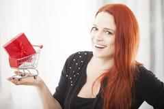 Muchacha de la Navidad con el mini carro de la carretilla de las compras Imagen de archivo