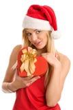 Muchacha de la Navidad con el regalo Fotos de archivo libres de regalías