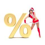Muchacha de la Navidad con la muestra del por ciento del oro 3d libre illustration