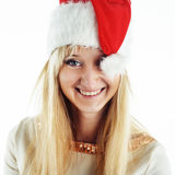 Muchacha de la Navidad en blanco Imagen de archivo libre de regalías
