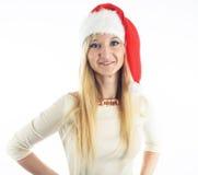 Muchacha de la Navidad en blanco Fotografía de archivo