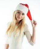 Muchacha de la Navidad en blanco Foto de archivo libre de regalías